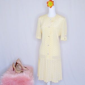 Vintage 70's Yellow Polka Dot Leslie Fay Dress 10